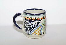 Talavera Mug - Mexican hand painted pottery cup, Unique Design - Coffee Tea. J8