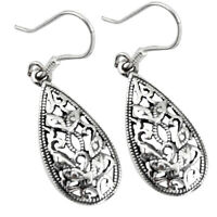 5.50gms Filigree Work Solid 925 Sterling Silver Earrings Jewelry