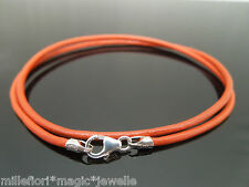 """2mm Orange Leather & 925 Sterling Silver Necklace Or Wristband 14"""" 16"""" 18"""" 20"""""""