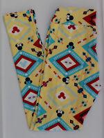 TC LuLaRoe Disney Tall & Curvy Leggings Mickey Minnie Aztec Yellow NWT 264