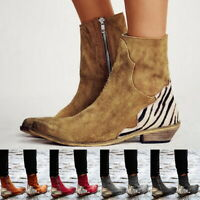 Women Autumn Sexy Lady Flock Ankle Boots Flat Square Heel Pointed Toe Zip US