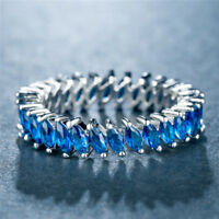 Elegant Wedding Rings for Women 925 Silver Marquise Cut Blue Sapphire Size 6-10
