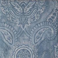 Tahari BLUE WHITE 3p KING DUVET COVER Bed SET Paisley Medallion 300tc COTTON New