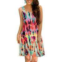 New Womens Summer Sleeveless Floral Printed Swing Dress Sundress with Pocket