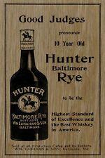 Hunter Rye Whiskey 1900 Baltimore Maryland Vintage Poster Print Retro Style Ar
