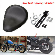"3""Black Leather Solo Spring Bracket Motorcycle Seat For Sportster Chopper Bobber"