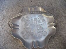 "Vntg Hand Forged Aluminum 9.5"" Scalloped Candy Basket Rose Design Mid Century"