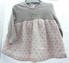 Jean Bourget haut rose rayé gris motif coeurs manche longue bébé 6 mois