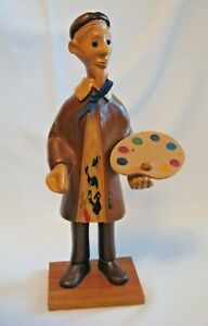 """ROMER Carved Wood Figure Statue Artist Painter Italy 12"""" Tall Man with Beard"""