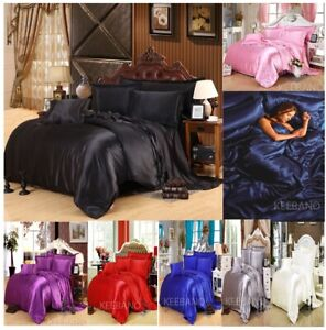 Satin Silky Bedding Comforter Duvet Cover Set In Every Size & Color Home Decor