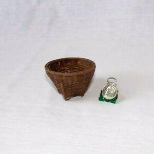 Miniature Dollhouse Wicker Woven Laundry Fruit Bread Garden Decorative Basket