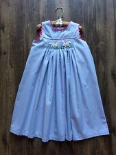 Remember Nguyen Smocked Pink & Blue Gingham Unicorn Dress 3T