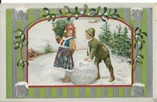 early christmas card dated 1912 young children at play in snow with xmas tree