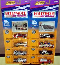 HOLLYWOOD ON WHEELS, Complete set of 8, Johnny Lightning New on Card NO STICKERS