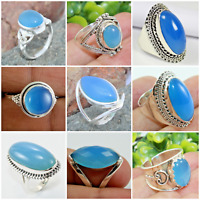 925 SOLID STERLING SILVER CHALCEDONY HANDMADE JEWELRY RING FOR VALENTINE GIFT