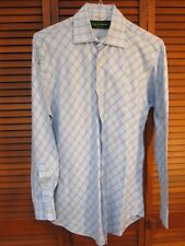 City of London Blue Long-Sleeved Shirt with Diamond Pattern Men's Size 15 ½ - 32