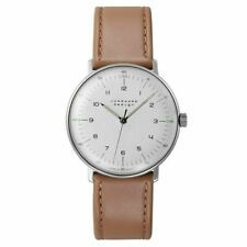 Junghans 027/3701.00 Mechanical Max Bill 34mm Case Brown Leather Strap Watch