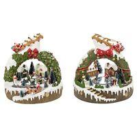LED Light Up Christmas Festive Village Illuminated  Wreath Ornament Scene