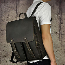 Men's Genuine Leather Backpack Cool Travel Hiking Day Pack School Book Bag