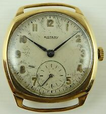 Vintage 9ct gold cushion case gents Swiss Rotary gents wristwatch Working Order