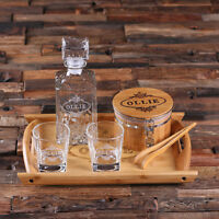 Personalized Engraved Whiskey Decanter Set Ice Bucket w/Tong 2 Glasses Wood Tray
