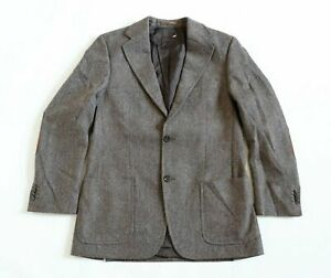 Men's Vintage J.PHILIPP Fitted Brown 100% Wool Blazer Jacket L Pit To Pit 23in