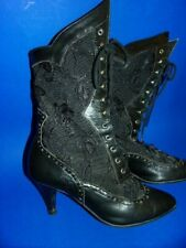 Black Leather and Lace, Western / Saloon / Victorian Boots, Lace Up Ties, size 6