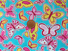 TURQUOISE WITH A PATTERN OF LARGE BUTTERFLIES - POLYCOTTON FABRIC FQ'S