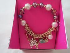 Betsey Johnson gold tone poodle~bone~paw beaded stretch bracelet,N/B