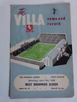 1957/58 ASTON VILLA V WEST BROMWICH ALBION - DIVISION ONE