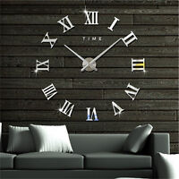 DIY 3D Wall Clock Roman Numerals Large Mirrors Surface Luxury Big Art Clock FG