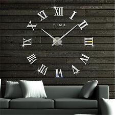 DIY 3D Wall Clock Roman Numerals Large Mirrors Surface Luxury Big Art Clock hcuk