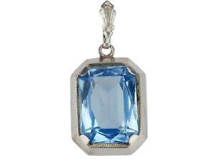 Art Deco 800 Silber Blautopas floraler Damen Anhänger!