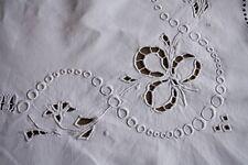 Drap 20 ancien en lin monogrammé blanc 200 x 305 cm broderies et jour