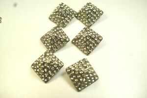BU9 - Lot of 6 Vintage Buttons, Metal, Shank,, Clear Rhinestones, Square, 21 mm