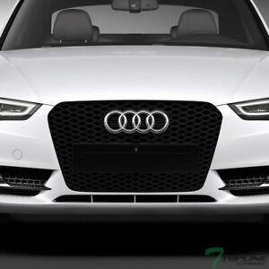 Topline For 2013-2016 Audi A5 RS Honeycomb Mesh Front Bumper Grille -Matte Black