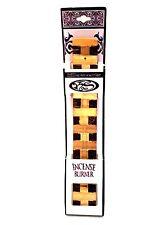 Incense Burner Stick Holder Ash Catcher Dark & Blonde Wood 10.5 inches Long