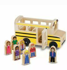 Melissa & Doug School Bus Wooden Play Set Pretend Moving New #9395