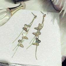 Butterfly Long Drop Tassel 925 Sterling Silver Ear Stud Earrings Jewelry MR