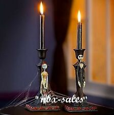 NIGHTMARE BEFORE CHRISTMAS JACK AND SALLY HOLIDAY CANDLESTICK HOLDER SET