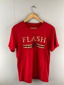 The Flash Mens Red Cotton Round Neck Short Sleeve Superhero T Shirt Size Large