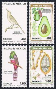 Mexico 1234-1237,MNH.Michel 1747-1750. Mockingbird,Trogon,Avocado,Cacao,1981