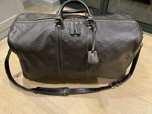 Gucci Joy Guccissima Brown Leather Monogram Signature Zip Holdall Duffle Bag Men