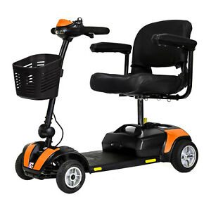 Roma Lightweight Portable Travel Mobility Scooter in Orange With Basket
