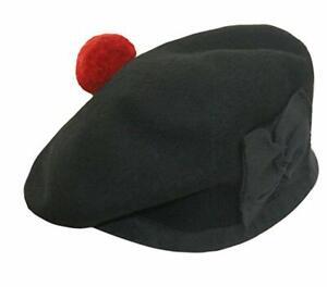 Scottish Black Highland Balmoral Cap with Red Pompom Brand New