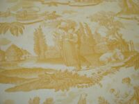 """One Yd BRUNSCHWIG FILS Le Kakatoes Maize TOILE Pictorial FABRIC 58"""" x 36"""" BTY"""
