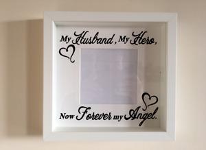 Box Frame Vinyl Decal Sticker Wall art Quote My Husband, My Hero, My Angel