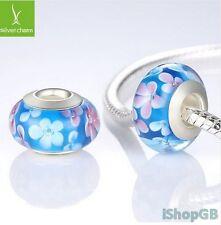 925 Sterling Silver Flower Murano Glass Bead Charm Fitted European Bracelet