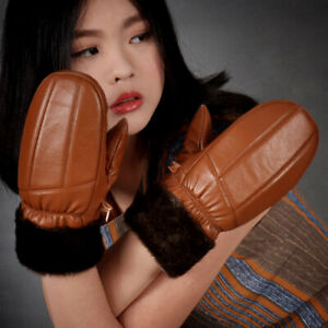 Lady Leather PU Glove Mittens Fleece Lined Winter Warm Riding Ski Windproof Cosy