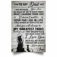 To My Dad Lion Poster Wall Art Home You Will Always Be My Greatest Hero